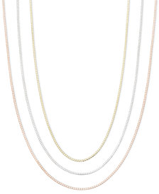 "14k Gold, 14k Rose Gold and 14k White Gold Necklaces, 16-30"" Box Chain"