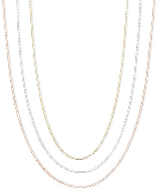 "Macy's 14k Gold, 14k Rose Gold and 14k White Gold Necklaces, 16-30"" Box Chain"