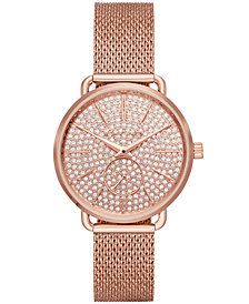 Michael Kors Women's Portia Rose Gold-Tone Stainless Steel Mesh Bracelet Watch 36mm, Created for Macy's