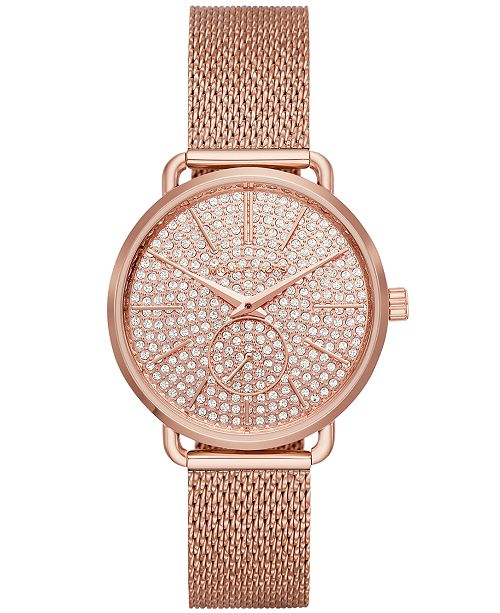 ... Michael Kors Women s Portia Rose Gold-Tone Stainless Steel Mesh  Bracelet Watch 36mm 5a57a030f0e5
