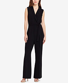Tahari ASL Belted Lapel-Collar Jumpsuit
