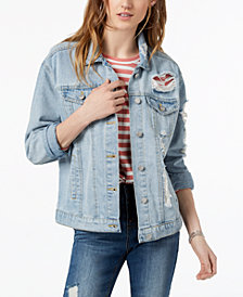 Crave Fame by Almost Famous Juniors' Cotton Ripped Denim Jacket