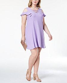 Planet Gold Trendy Plus Size Lace-Up Cold-Shoulder Dress