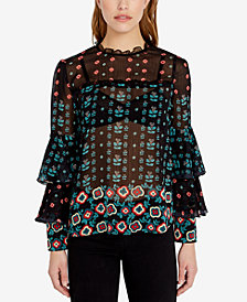Buffalo David Bitton Printed Chiffon Tiered-Sleeve Blouse
