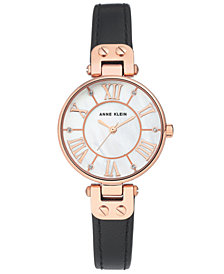 Anne Klein Women's Black Leather Strap Watch 30mm