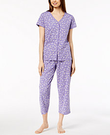 Charter Club Picot-Trim Soft Cotton Pajama Set, Created for Macy's