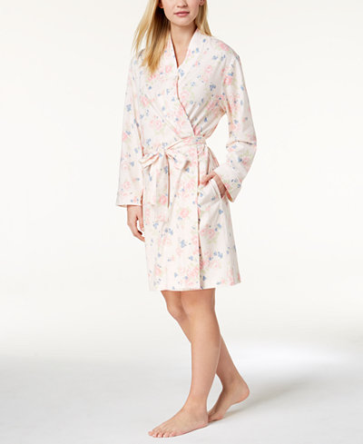 Charter Club Rose-Print Cotton Robe, Created for Macy's