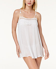 Linea Donatella Pleated Lace-Trim Babydoll With G-String