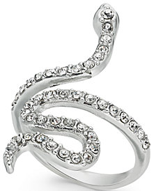 I.N.C. Woman Silver-Tone Pavé Snake Statement Ring, Created for Macy's