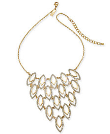 "I.N.C. Gold-Tone Pavé Navette Statement Necklace, 18"" + 3"" extender, Created for Macy's"