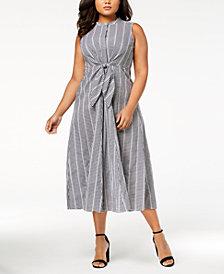 Calvin Klein Plus Size Cotton Gingham Tie-Front Dress