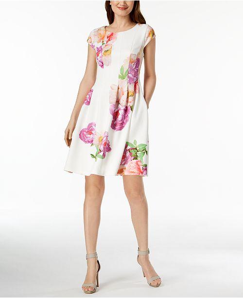 6f412226d08029 Calvin Klein Petite Floral-Print Scuba Fit & Flare Dress & Reviews ...