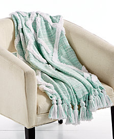 "LAST ACT! Lacourte Riya Cotton Seafoam 50"" x 60"" Tufted-Chenille Throw, Created for Macy's"