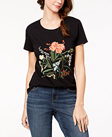 Style & Co Cotton Floral-Embroidered T-Shirt, Created for Macy's