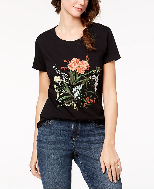 47f6bca051b Style & Co Cotton Floral-Embroidered T-Shirt, Created for Macy's ...