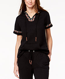 Style & Co Embroidered Short-Sleeve Sweatshirt, Created for Macy's