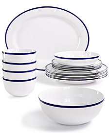 CLOSEOUT! Martha Stewart Collection Blue Rim Dinnerware Collection, Created for Macy's