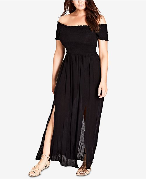 Trendy Plus Size Off-The-Shoulder Maxi Dress