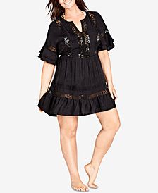 City Chic Trendy Plus Size Lace-Inset A-Line Dress