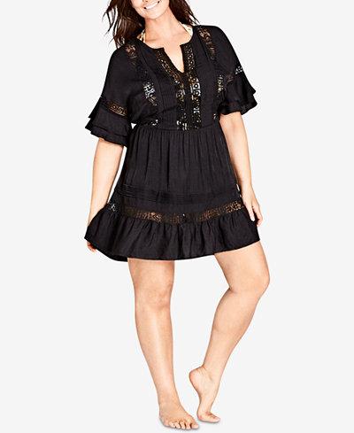City Chic Trendy Plus Size Lace-Inset A-Line Dress