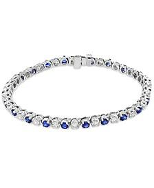 EFFY® Sapphire (3 ct. t.w.) & Diamond (2-1/6 ct. t.w.) Tennis Bracelet in 14k White Gold