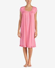 Eileen West Waltz Lace-Trim Flounce-Hem Knit Nightgown