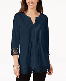 Charter Club Petite Cotton Pleated Top, Created for Macy's