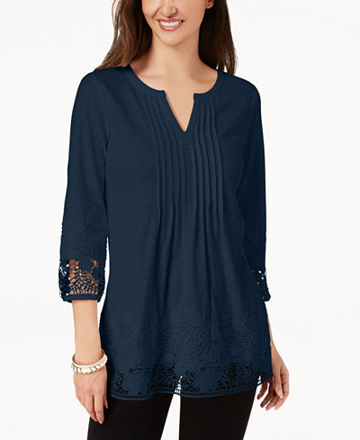 Charter Club Cotton Crocheted-Trim Top, Created for Macy's