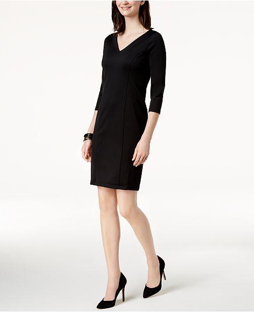 3 Club Black Charter Macy's Dress Deep Created Sleeve 4 for 5PwqwdA