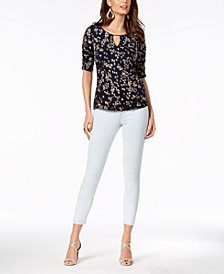Thalia Sodi Ruched Hardware Top & Pull-On Jeggings, Created for Macy's