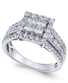 Diamond Princess Halo Ring (1-1/2 ct. t.w.) in 14k White Gold