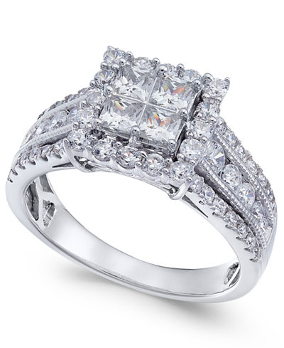 Diamond Princess Halo Ring (1-1/2 ct. t.w.) in 14k White Gold