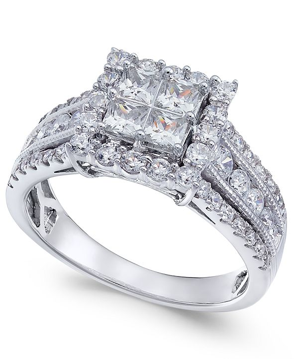 Macy's Diamond Princess Halo Ring (1-1/2 ct. t.w.) in 14k White Gold