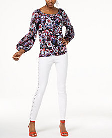I.N.C. Peasant Top & Studded Skinny Jeans, Created for Macy's