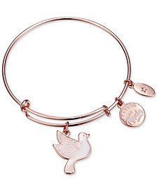 "Unwritten ""Believe in Miracles"" Dove Charm Adjustable Bangle Bracelet in Rose Gold-Tone Stainless Steel"