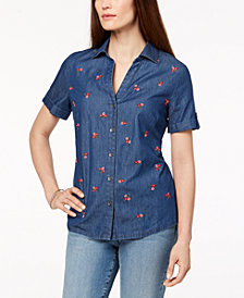 Karen Scott Cotton Embroidered Chambray Shirt, Created for Macy's