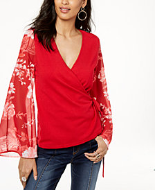 I.N.C. Petite Printed-Sleeve Wrap Sweater, Created for Macy's