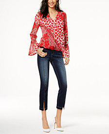 I.N.C. Printed Faux-Wrap Top & Cropped Skinny Jeans, Created for Macy's
