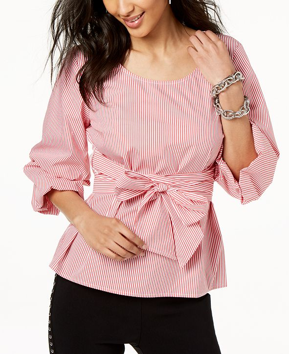 INC International Concepts I.N.C. Striped Tiered-Sleeve Shirt, Created for Macy's
