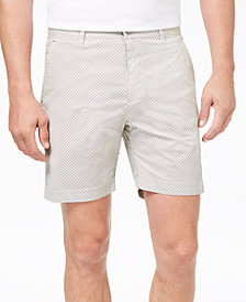 "Con.Struct Men's Stretch Khaki Geo-Print 7"" Shorts, Created for Macy's"
