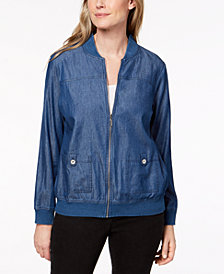 Alfred Dunner Sun City Denim Bomber Jacket