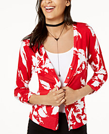 I.N.C. Floral-Print Rhinestone-Button Cardigan, Created for Macy's