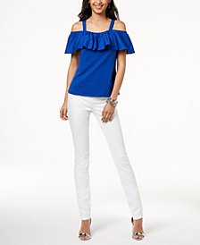 I.N.C. Ruffled Off-The-Shoulder Top & Skinny Jeans, Created for Macy's