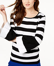 I.N.C. Striped Poplin-Sleeve Sweater, Created for Macy's