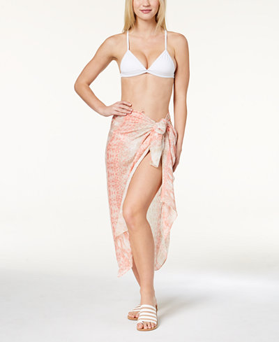 Calvin Klein Animal-Print Sarong Cover-Up & Scarf in One