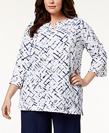 JM Collection Plus Size Crisscross Crinkle Top, Created for Macy's