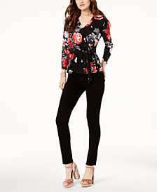 I.N.C. Surplice Top & Skinny Jeans, Created for Macy's