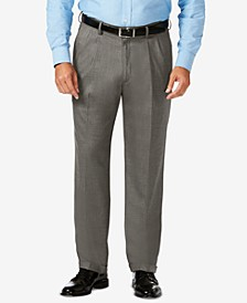J.M. Big & Tall Classic Fit Stretch Sharkskin Pleated Dress Pants