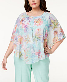 Alfred Dunner Plus Size Roman Holiday Floral-Print Necklace Top