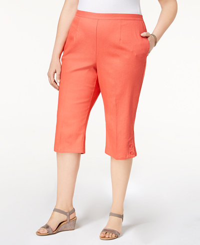 Alfred Dunner Plus Size Sun City Button-Cuff Pull-On Capri Pants